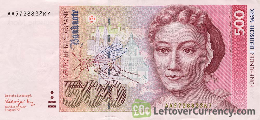 500 Deutsche Marks banknote - Maria Sibylla obverse accepted for exchange