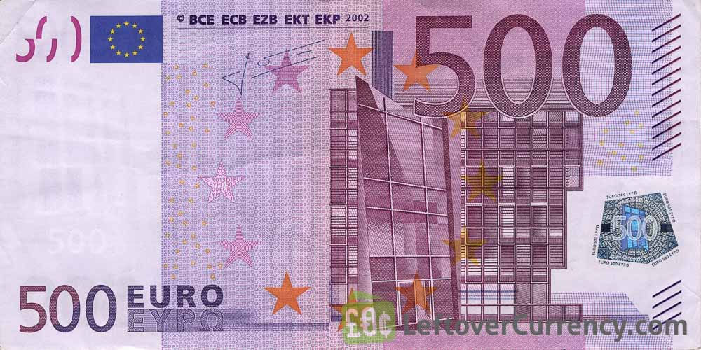 500 Euros banknote - First series obverse accepted for exchange