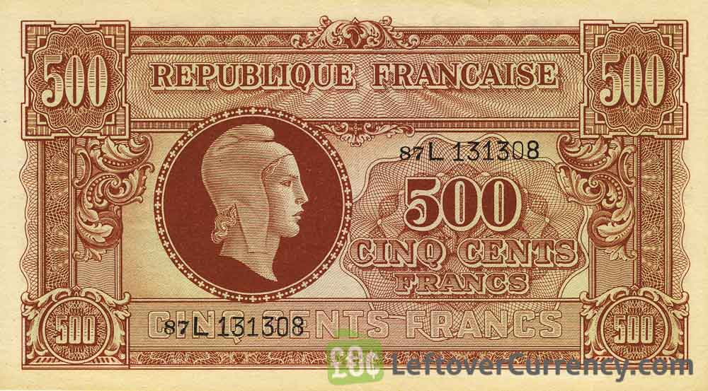 500 French Francs banknote - Tresor Central type Marianne obverse accepted for exchange
