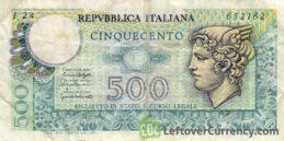 500 Italian lire banknote Mercury