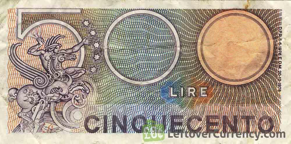 500 Italian lire banknote reverse