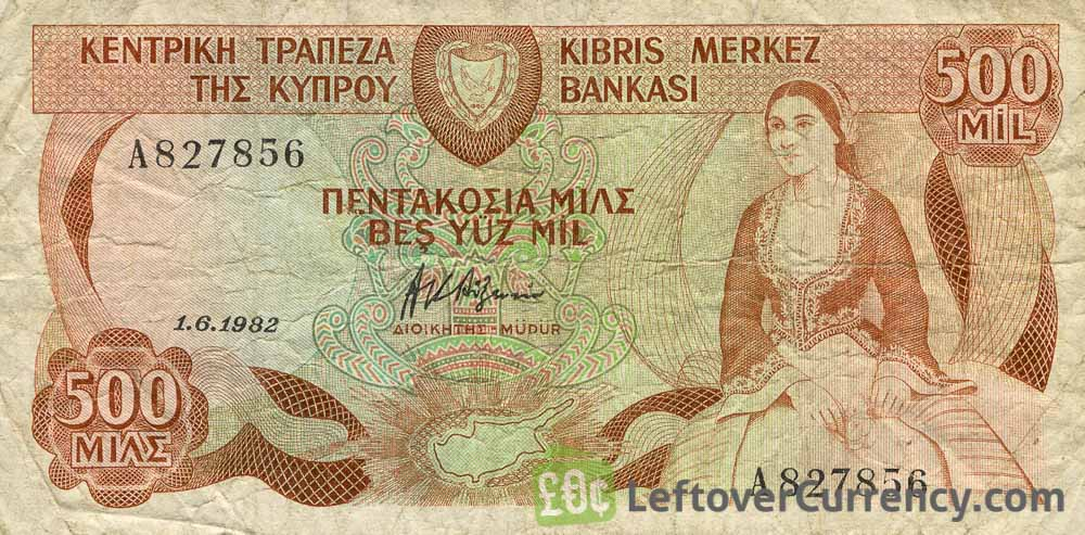 500 Mils banknote Cyprus obverse accepted for exchange