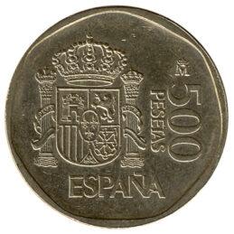 500 Spanish Pesetas coin obverse
