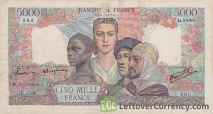 5000 French Francs banknote (Billet Union Française) obverse accepted for exchange