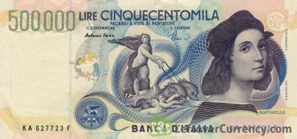 500000 Italian Lire banknote - Raphael obverse accepted for exchange