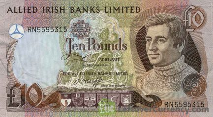 Allied Irish Banks Limited 10 Pounds banknote - Young man obverse accepted for exchange