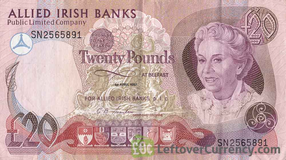 Allied Irish Banks Limited 20 Pounds banknote - Mature lady obverse accepted for exchange