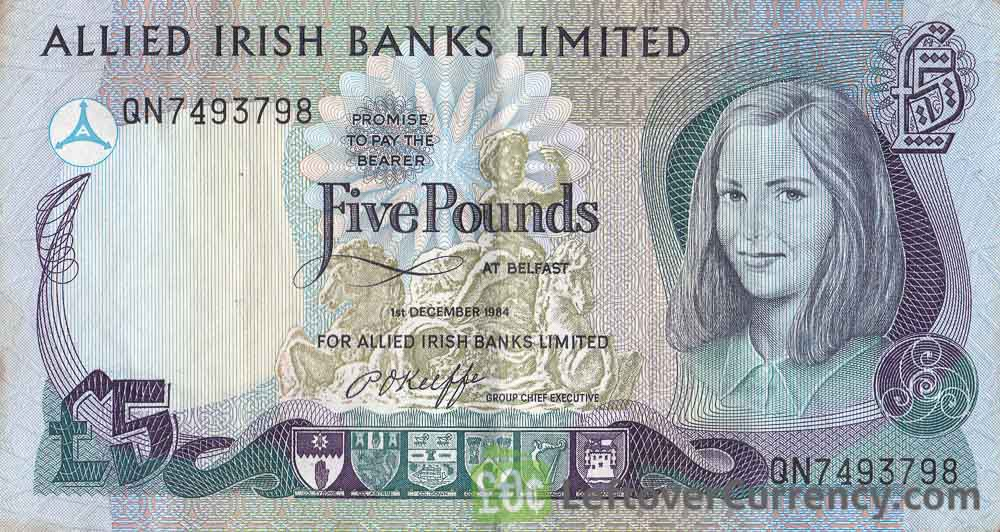 Allied Irish Banks Limited 5 Pounds banknote - Young girl obverse accepted for exchange