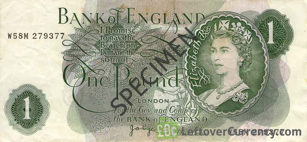 Bank of England 1 Pound banknote - HM the Queen portrait type obverse accepted for exchange