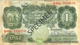 Bank of England 1 Pound Sterling banknote - Britannia type green obverse accepted for exchange