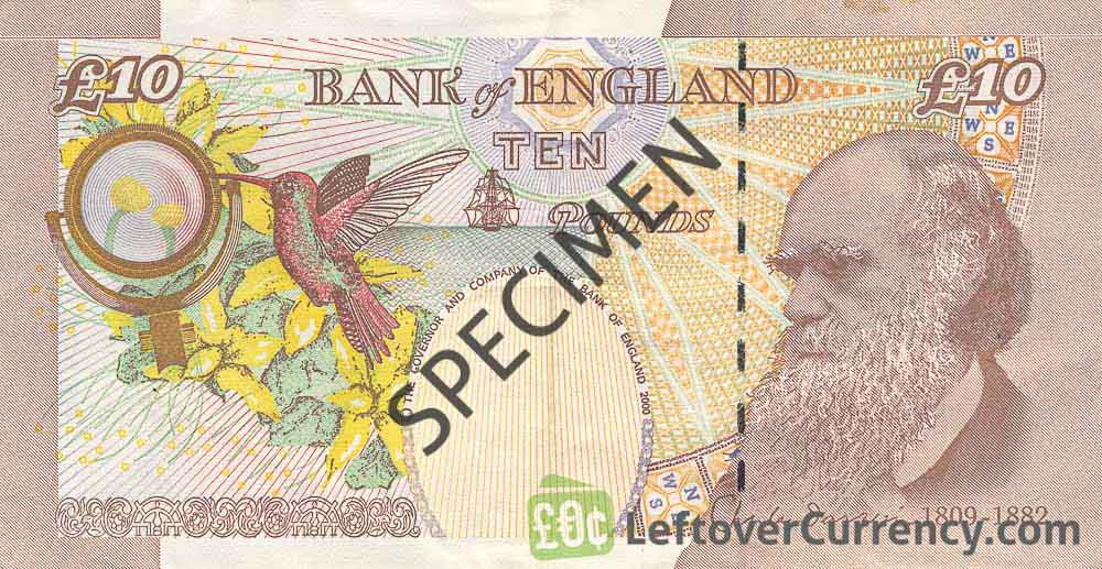 Bank of England 10 Pounds Sterling banknote - Charles Darwin reverse accepted for exchange