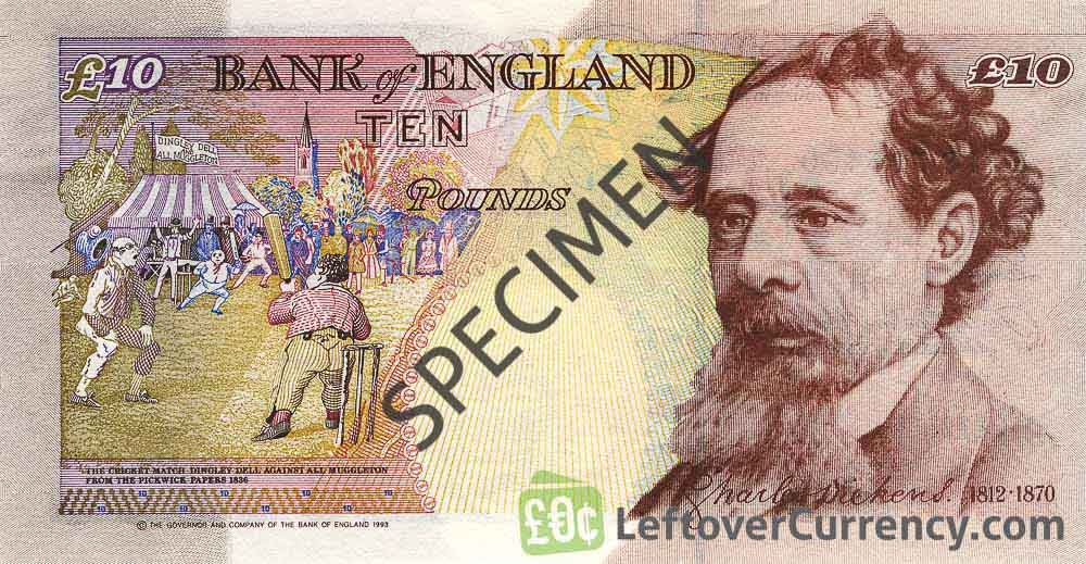 Bank of England 10 Pounds Sterling banknote - Charles Dickens reverse accepted for exchange