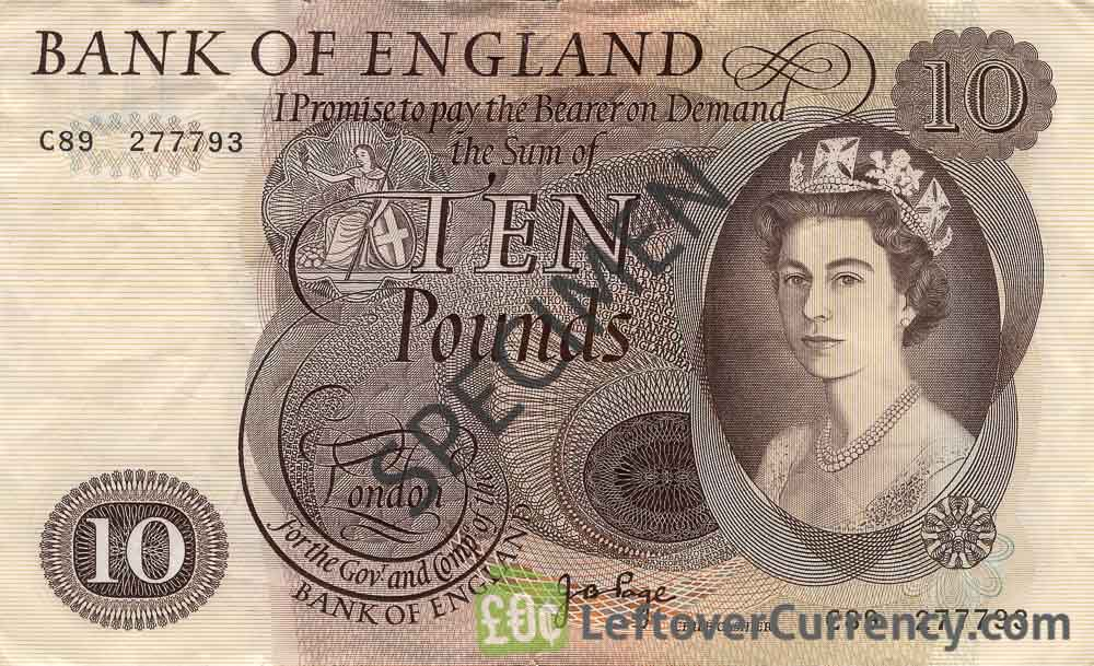 Bank of England 10 Pounds Sterling banknote - HM the Queen portrait type obverse accepted for exchange