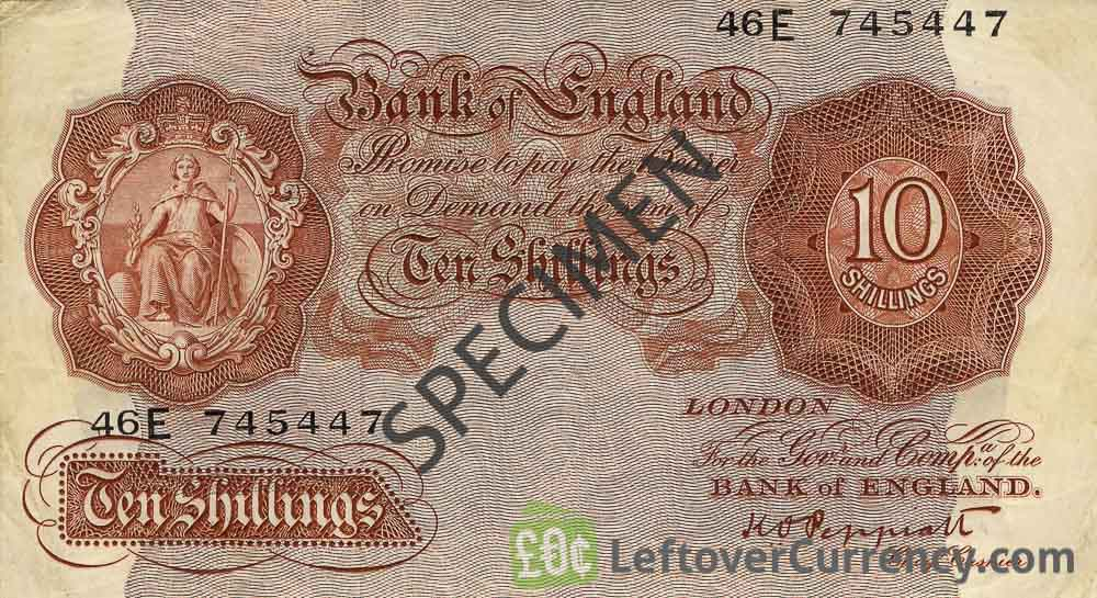 Bank of England 10 Shillings banknote - Britannia type red obverse accepted for exchange