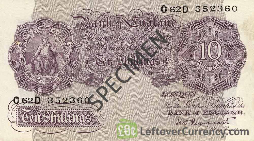 Bank of England 10 Shillings banknote - Britannia type violet obverse accepted for exchange