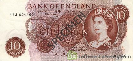Bank of England 10 Shillings banknote - HM the Queen portrait type obverse accepted for exchange