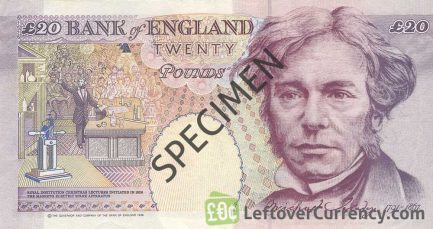 Bank of England 20 Pounds Sterling banknote - Michael Faraday reverse accepted for exchange