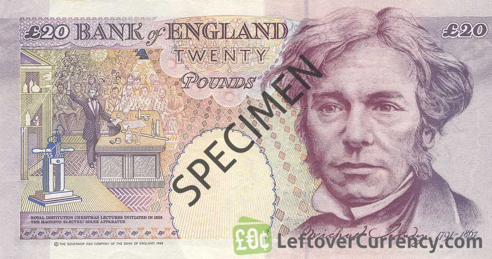 Bank of England 20 Pounds Sterling banknote (Michael Faraday)