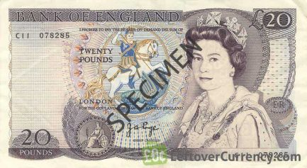 Bank of England 20 Pounds Sterling banknote - William Shakespeare obverse accepted for exchange