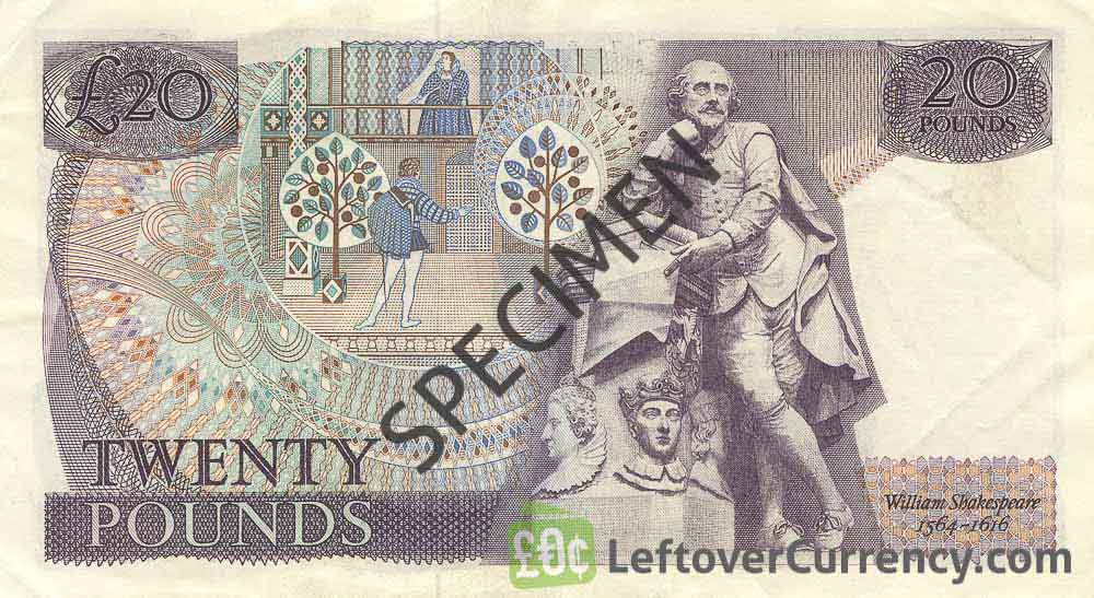 Bank of England 20 Pounds Sterling banknote - William Shakespeare reverse accepted for exchange