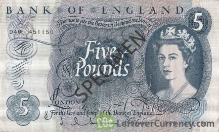 Bank of England 5 Pounds banknote - HM the Queen portrait type obverse accepted for exchange