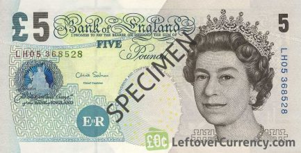 Bank of England 5 Pounds Sterling banknote - Elizabeth Fry obverse accepted for exchange