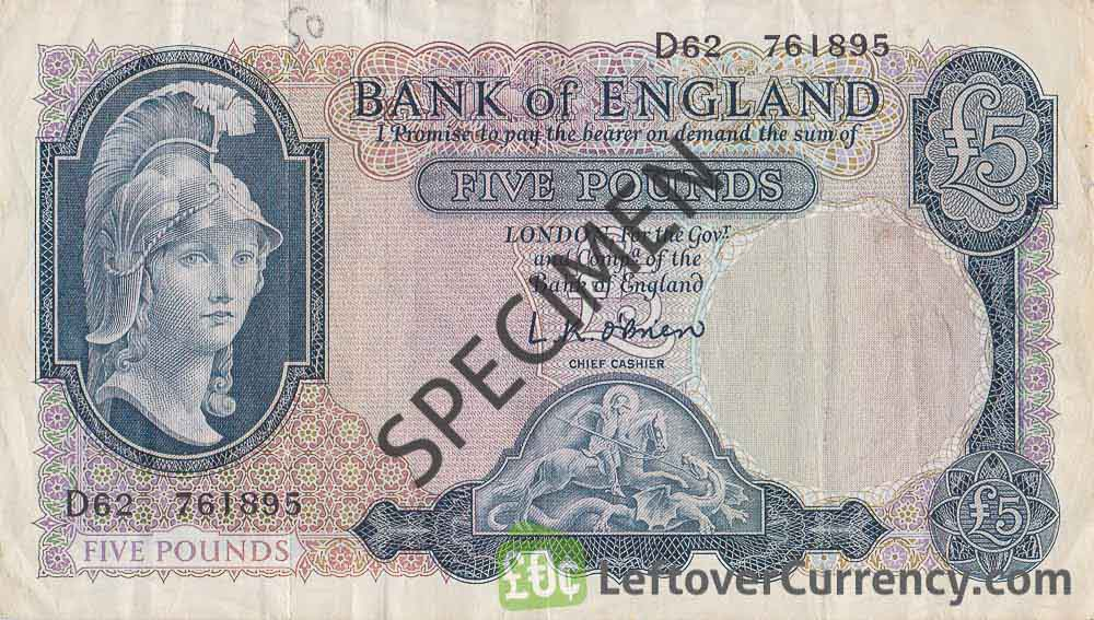 Bank of England 5 Pounds Sterling banknote (Helmeted Britannia) obverse accepted for exchange