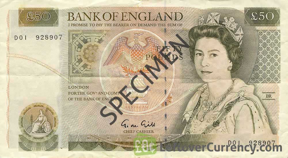 Bank of England 50 Pounds Sterling banknote - Sir Christopher Wren obverse accepted for exchange