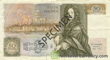 Bank of England 50 Pounds Sterling banknote - Sir Christopher Wren accepted for exchange