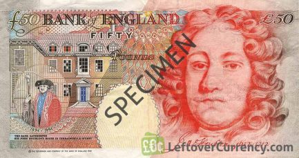 Bank of England 50 Pounds Sterling banknote - Sir John Houblon reverse accepted for exchange