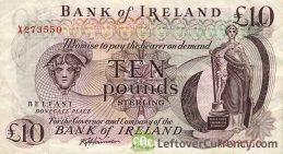 Bank of Ireland 10 Pounds banknote - Mercury obverse accepted for exchange