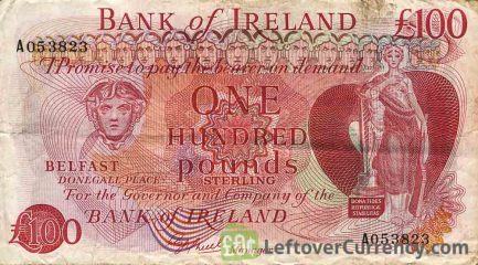 Bank of Ireland 100 Pounds banknote - Mercury obverse accepted for exchange