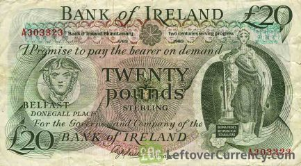 Bank of Ireland 20 Pounds banknote - Mercury obverse accepted for exchange