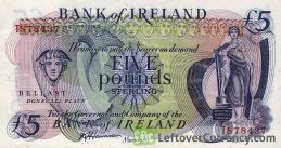 Bank of Ireland 5 Pounds banknote - Mercury obverse accepted for exchange