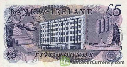 Bank of Ireland 5 Pounds banknote - Mercury reverse accepted for exchange