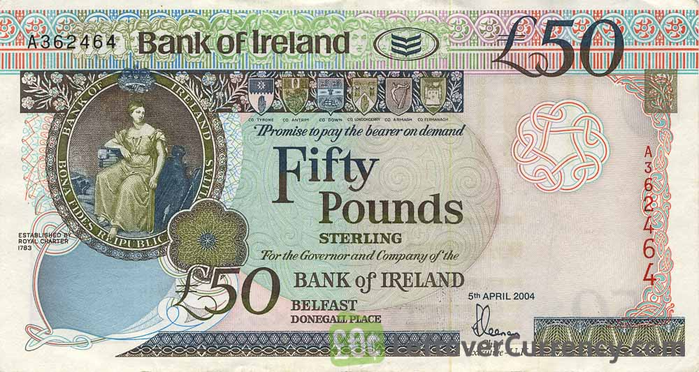 Bank of Ireland 50 Pounds banknote (Queen's University) obverse accepted for exchange