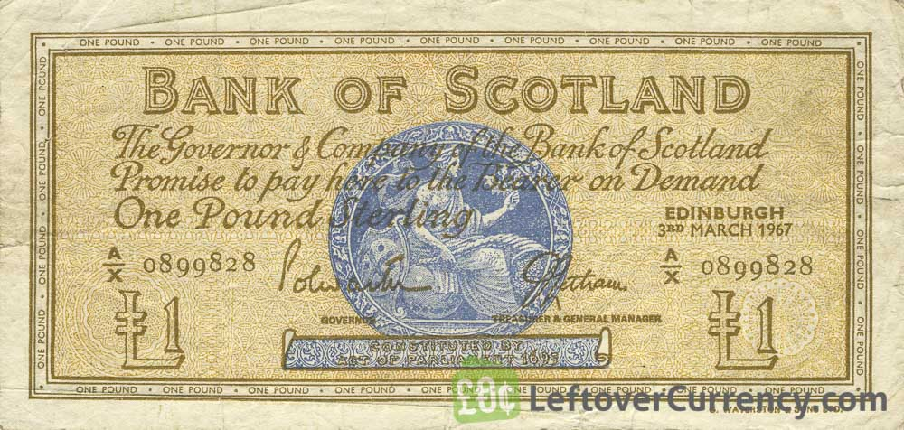 Bank of Scotland 1 Pound banknote - 1955-1967 series obverse accepted for exchange