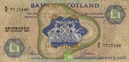 Bank of Scotland 1 Pound banknote - 1968-1969 series obverse accepted for exchange