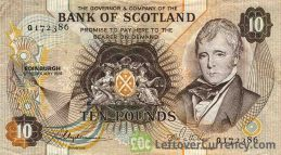 Bank of Scotland 10 Pounds banknote - 1970-1994 series obverse accepted for exchange