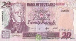 Bank of Scotland 20 Pounds banknote - 1995-2006 series obverse accepted for exchange