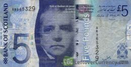 Bank of Scotland 5 Pounds banknote - 2007-2011 series obverse accepted for exchange