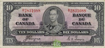10 Canadian Dollars banknote series 1937 obverse accepted for exchange