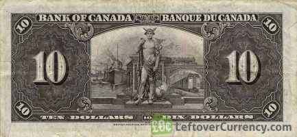 10 Canadian Dollars banknote series 1937 reverse accepted for exchange