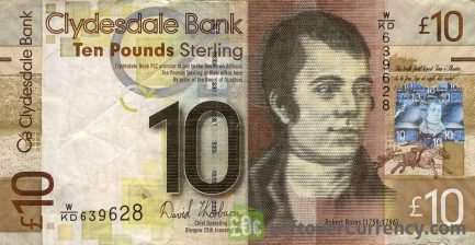 Clydesdale Bank 10 Pounds banknote obverse accepted for exchange