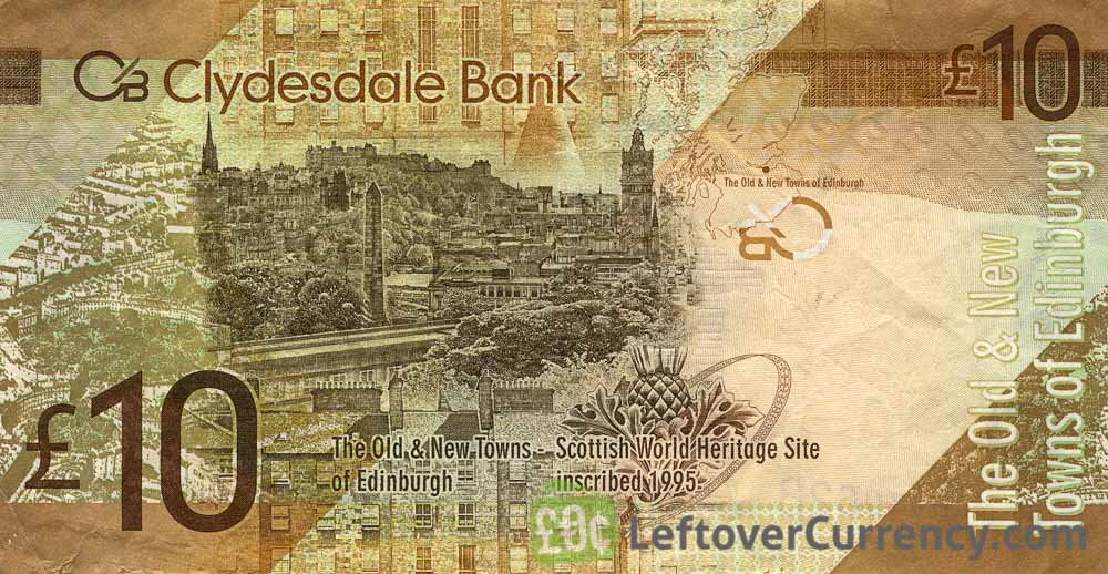 Clydesdale Bank 10 Pounds banknote reverse accepted for exchange