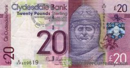 Clydesdale Bank 20 Pounds banknote obverse accepted for exchange