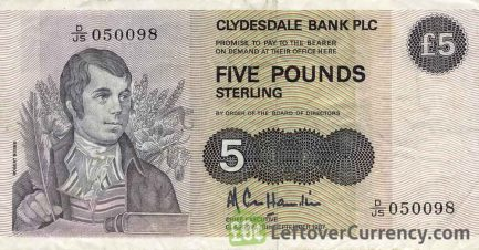 Clydesdale Bank 5 Pounds banknote - 1982-1989 series obverse accepted for exchange