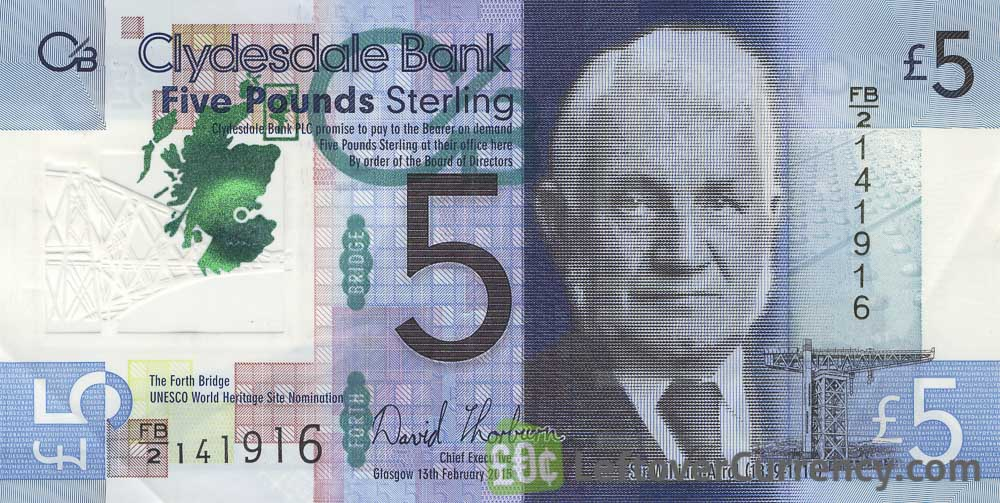 Clydesdale Bank 5 Pounds banknote (2015 series) obverse