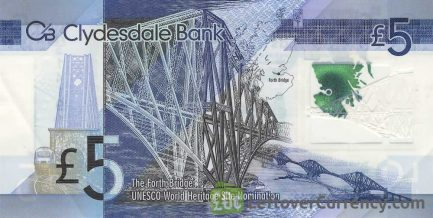 Clydesdale Bank 5 Pounds banknote (2015 series) reverse