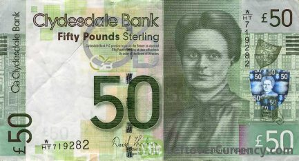 Clydesdale Bank 50 Pounds banknote obverse accepted for exchange